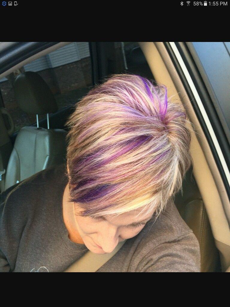 Pin By Vicki Fulton On Hair Purple Highlights Blonde Hair Blonde Hair With Highlights Purple Hair Highlights