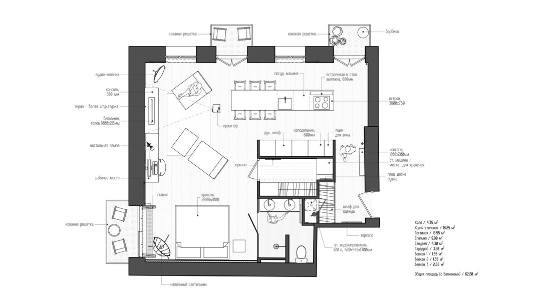 Studio Apartment Floor Plans New York at 107 square meters, this moscow apartment may not be spacious