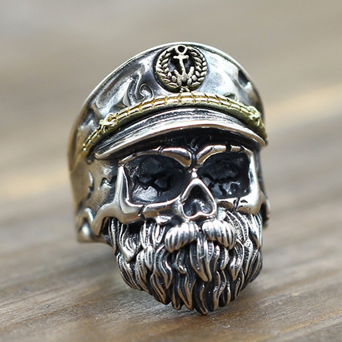 Mens Sterling Silver Old Captain Skull Ring
