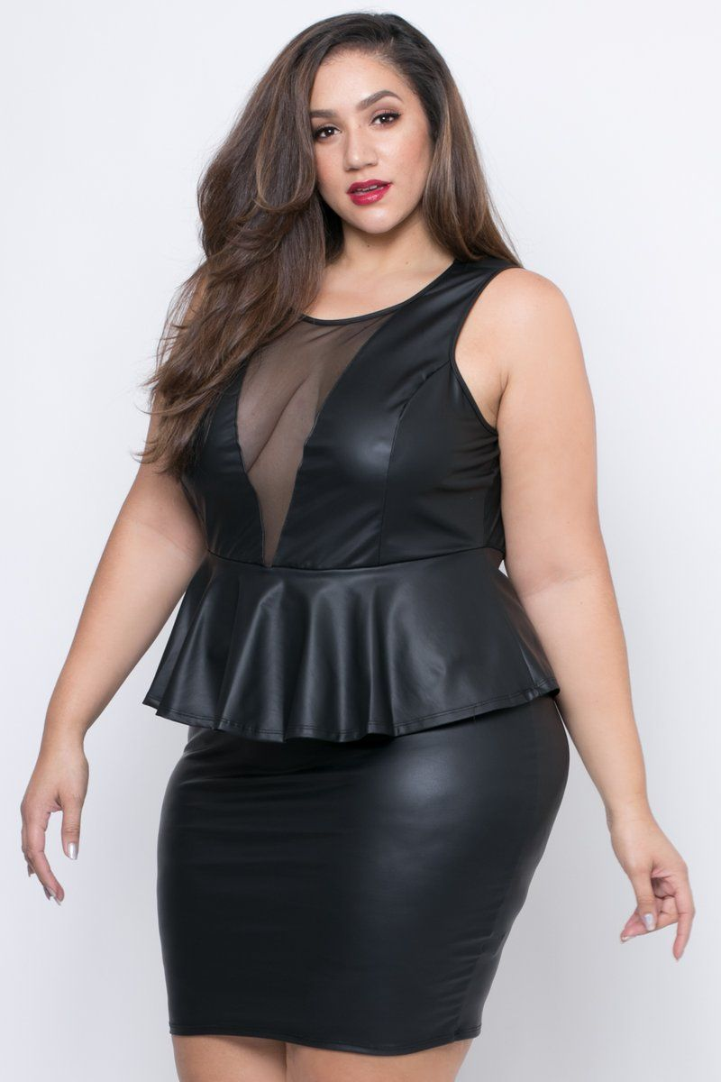d75e9895b7ea Plus Size Faux Leather Peplum Dress - Black | Curvy in 2019 | Trendy ...