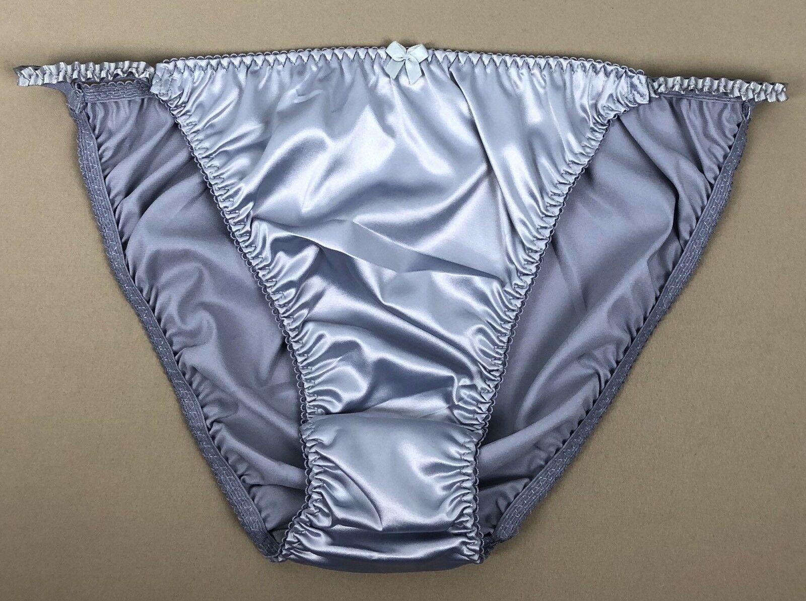 VTG style Satin shiny wetlook ladies sissy WHITE Polka Dot panties String bikini