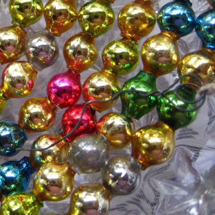 93 Inch Vintage Mercury Glass Bead Christmas Garland Christmas