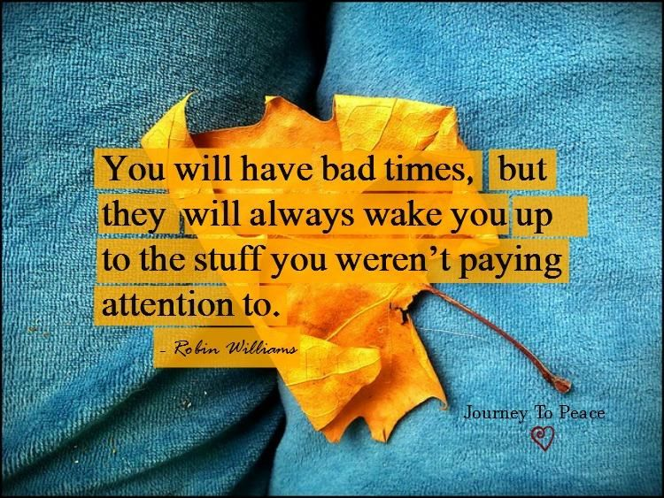 You will have bad times, but they will always wake you up to the stuff you weren't paying attention to.- Robin Williams