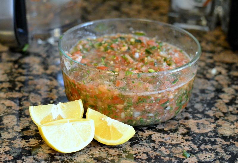 Easy food processor salsa 4 large tomatoes 1 small onion