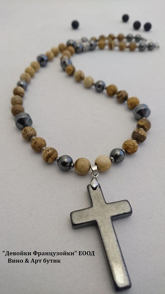 Mens beaded hematite and picture jasper necklace with hematite cross mens beaded hematite and picture jasper necklace with hematite cross pendant bead size 8 aloadofball Gallery