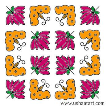 Flower Kolam 50 Step By Design
