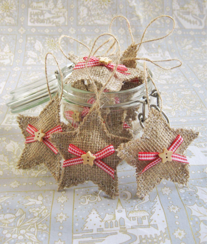 10 X star hessian Christmas tree decorations Handmade ...