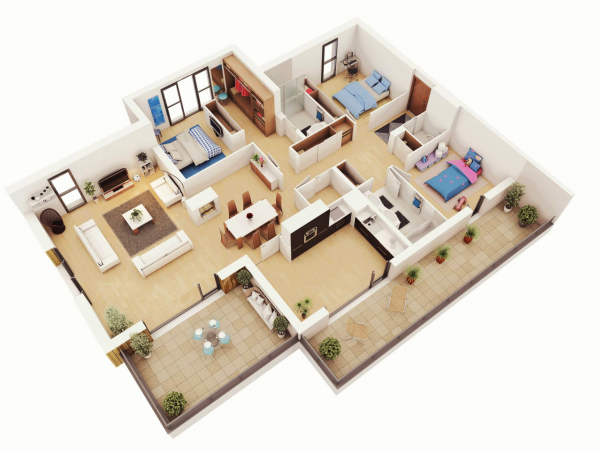25 More 3 Bedroom 3d Floor Plans 3d House Plans Bedroom House Plans Small House Plans