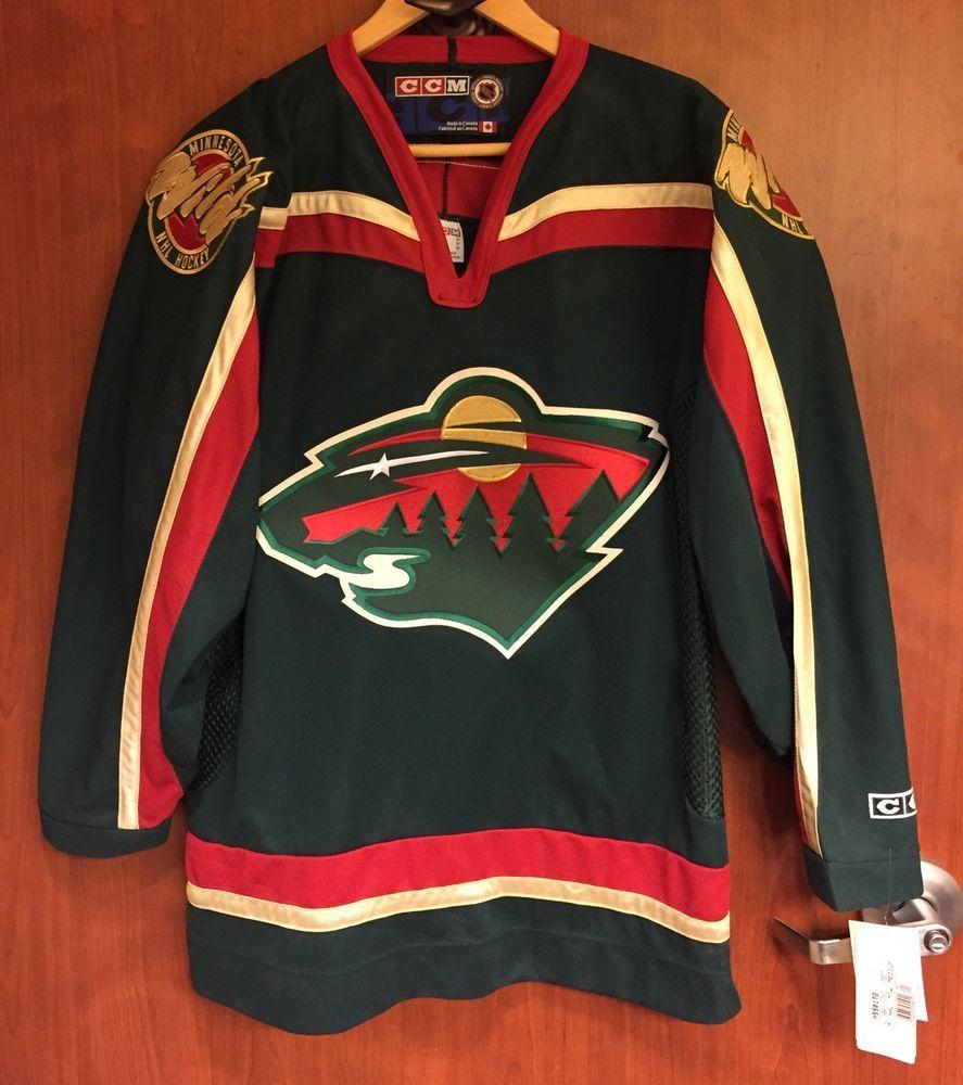 sports shoes 4d621 6a4d7 ☀NEW☀CCM Minnesota Wild Hockey Jersey NHL Men M Adul ...