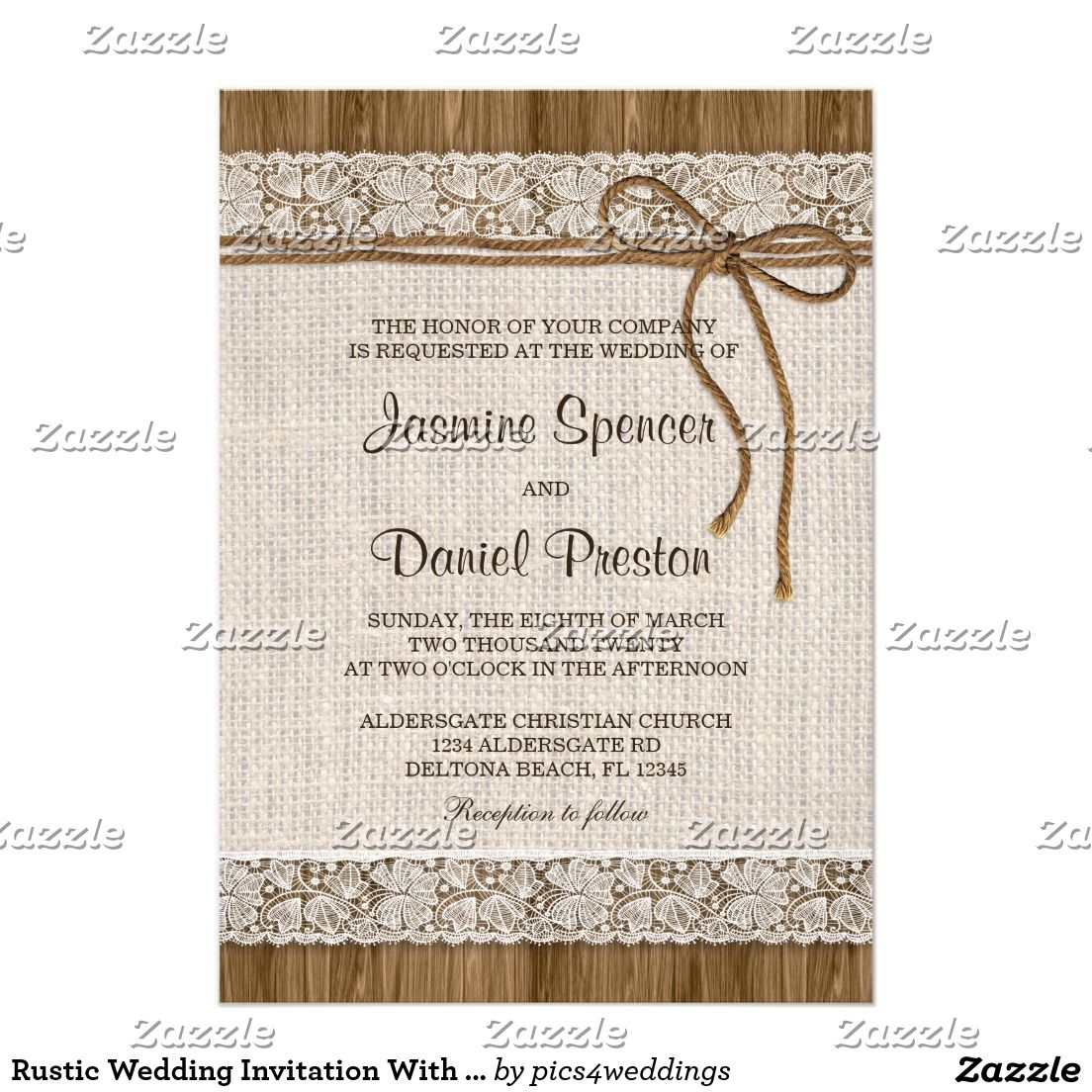 Rustic country burlap string lights lace wedding card - Rustic Wedding Invitation With Burlap And Lace