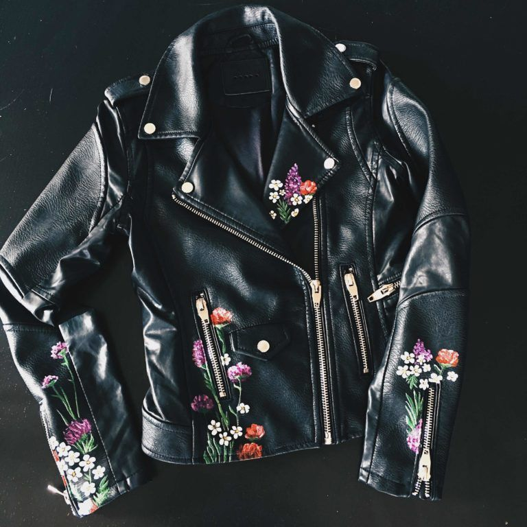 How To Easily Customize Your Own Faux Leather Jacket Dressed To Kill Diy Leather Jacket Painted Leather Jacket Leather Jacket Dress