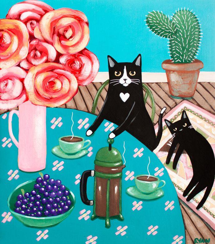 French Press Coffee and Cats Original Cat Folk Art