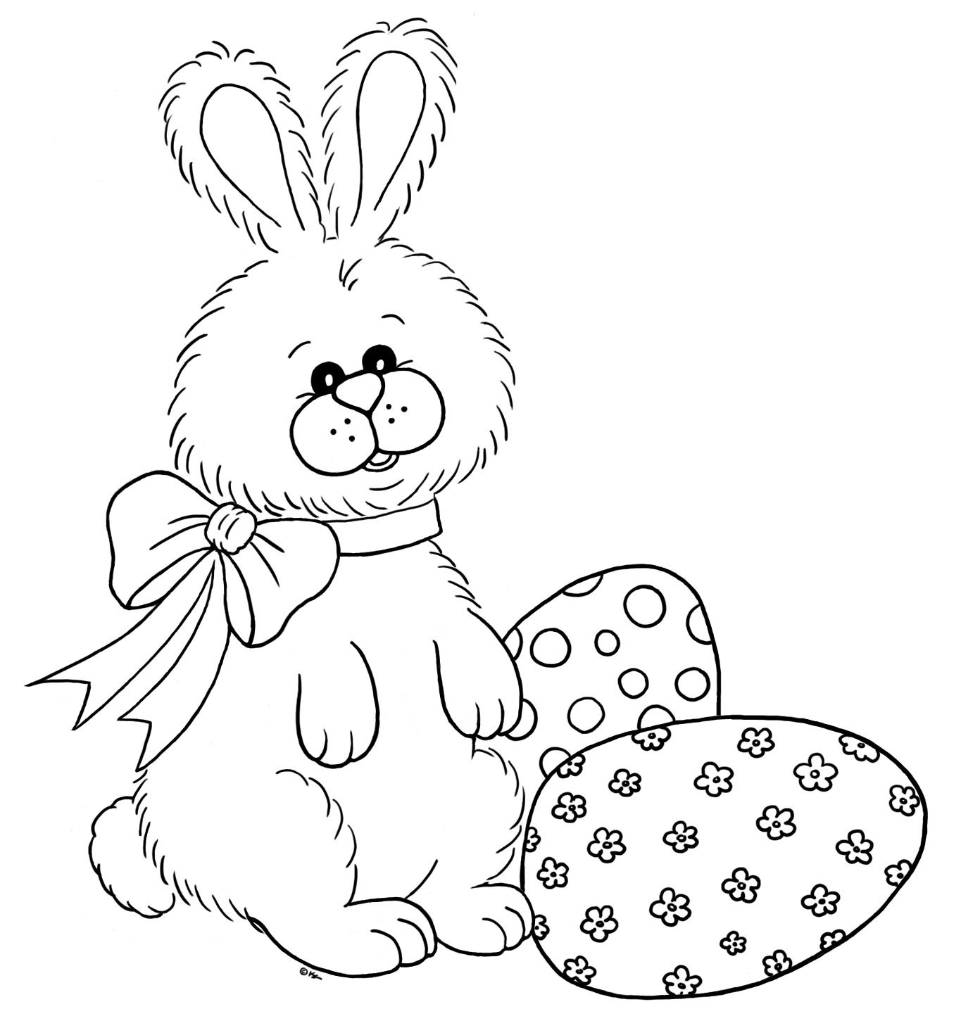 easter bunny with eggs Digital stamps, Digi stamps free