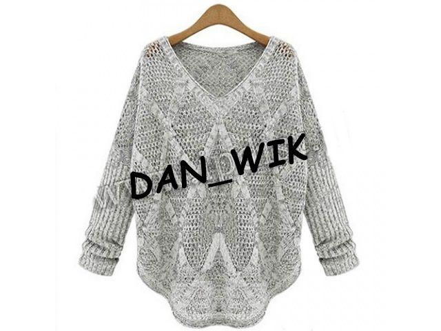 Szary Azurkowy Sweterek Oversize Sweter 5761776285 Oficjalne Archiwum Allegro Fashion Sweaters