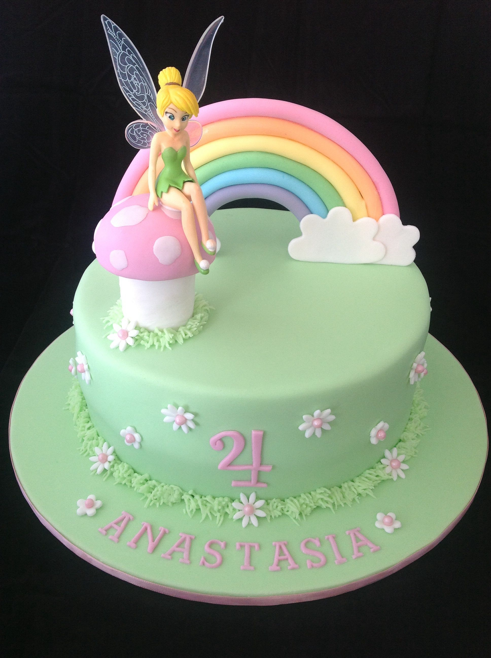 Groovy Tinkerbell Cake Love The Simplicity Of This One Tinkerbell Personalised Birthday Cards Sponlily Jamesorg