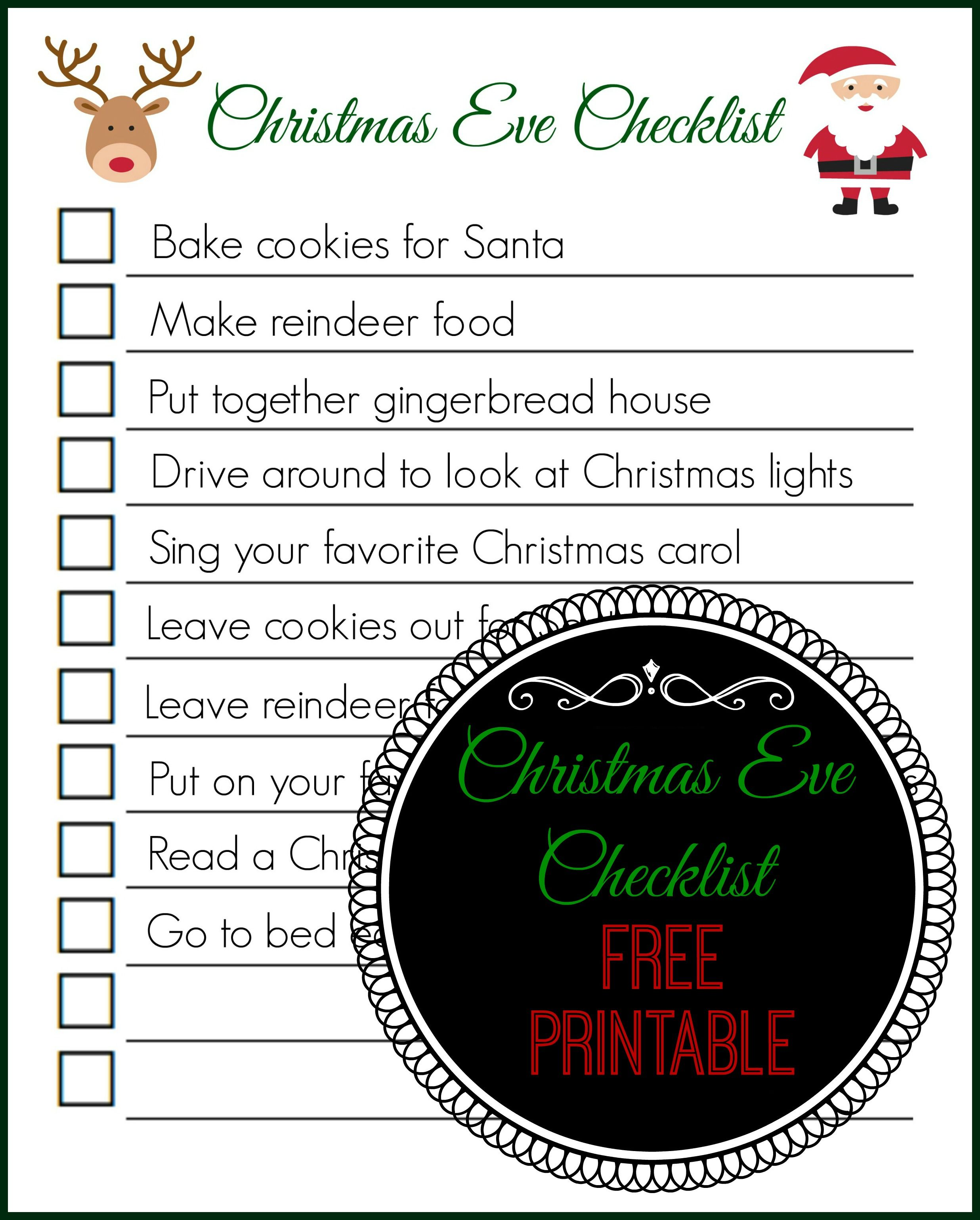 Things To Do On Christmas Eve.Christmas Eve Checklist Free Printable The Naughty Mommy