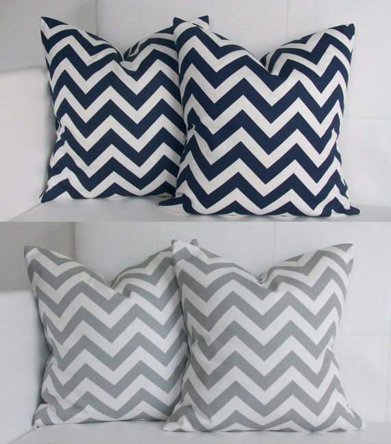 Best Four Set Of Four 16X16 Gray And Navy Chevron Pillow 400 x 300