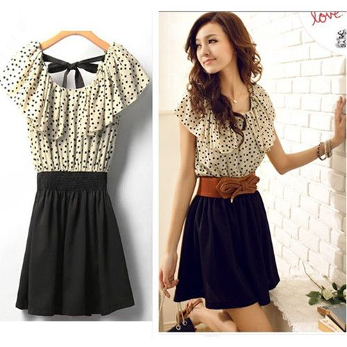 7bb1cc6b9db Fashion Japan Korean Women Summer Fashion Short-sleeve Dot Polka Waist  Dress Top