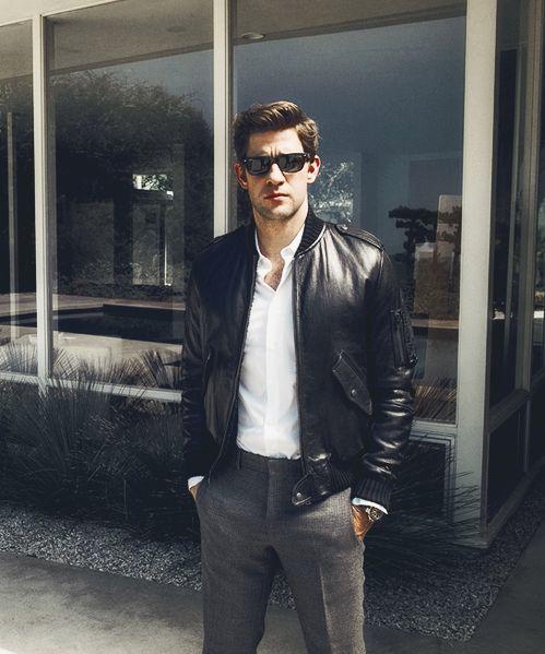 john krasinski. hello leather jacket. #fashion