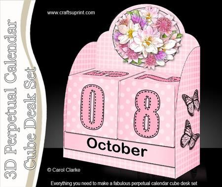 3D Summer Bouquet Perpetual Calendar Desk Set 3d Decoupage on - how to make a perpetual calendar
