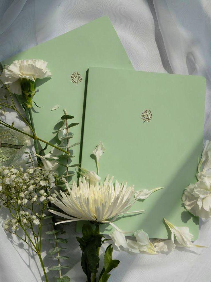 pastel green notebook