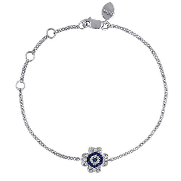 Evil Eye Sapphire and Diamond Flower Bracelet www.meiratdesigns.com