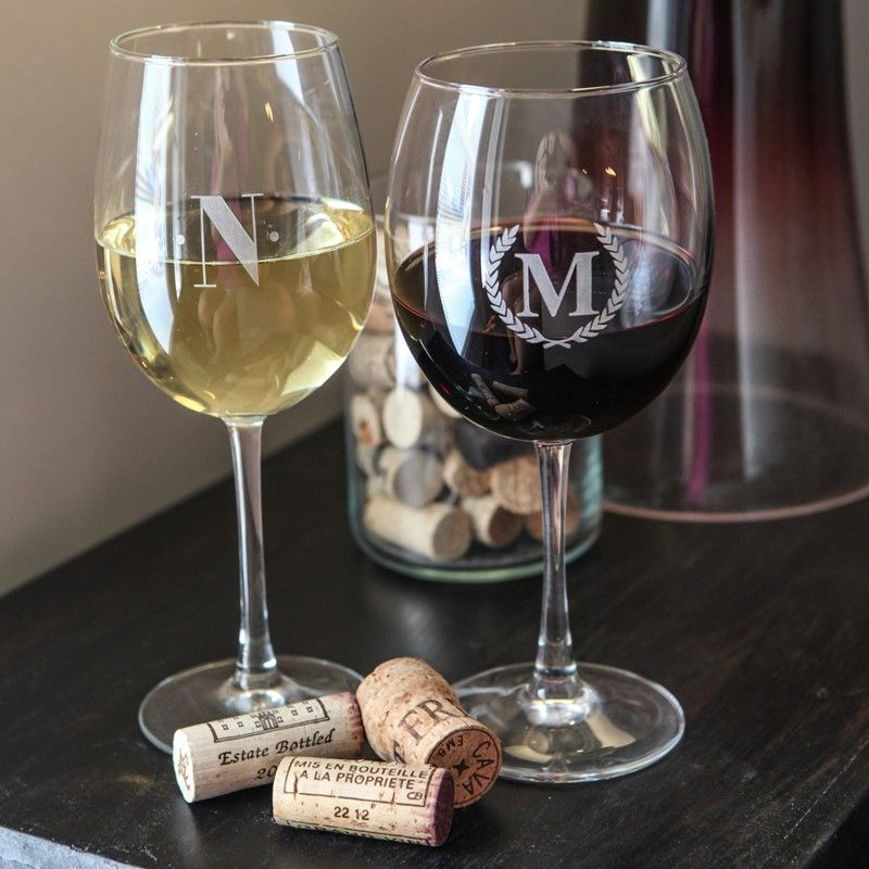 Personalize white or red wine glasses for your selves, your host, or your friends.  Cheers!