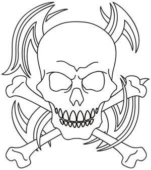 Tribal Skull And Crossbones Skull Coloring Pages Skulls Drawing Skull Art