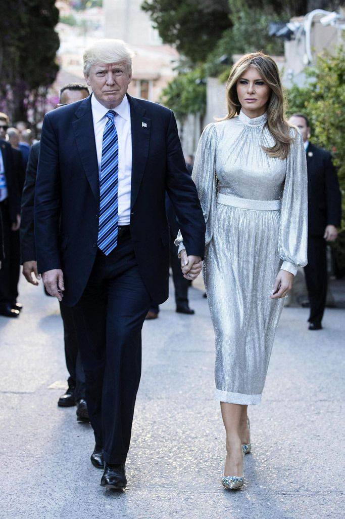 Melania Trump Shimmers in Silver D&G Crystal Flower Pumps for G7 Summit in  Sicily