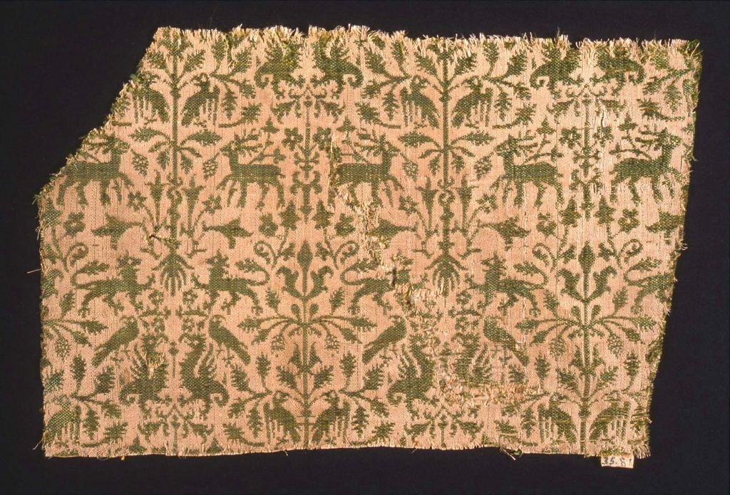 Textile fragment, tiny pattern, silk 14th century 14.5 x 22 cm