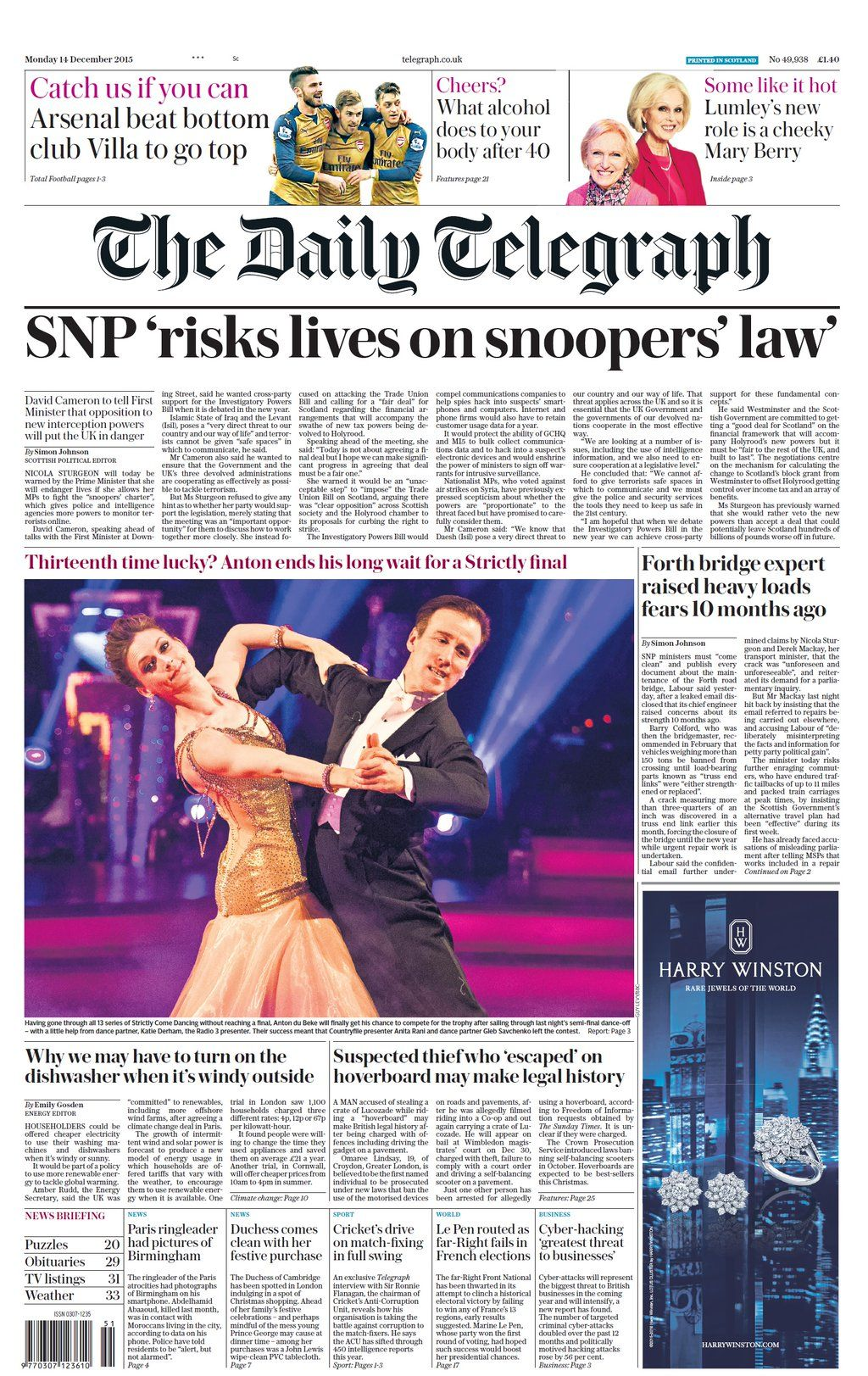 Monday's Telegraph (Scotland) front page: SNP 'risks lives on snoopers' law' #tomorrowspaperstoday #bbcpapers https://t.co/Bd3smjjTLj