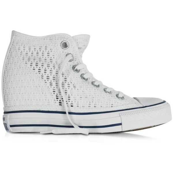 9c38db81a1e8 Converse Limited Edition All Star Mid Lux White Crochet Canvas Wedge...  ( 175) ❤ liked on Polyvore featuring shoes