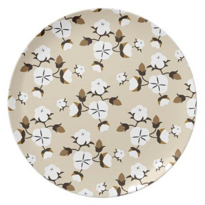 Rustic Farmhouse Style Cotton Flowers Melamine Plate - floral style flower flowers stylish diy personalize  sc 1 st  Pinterest & Rustic Farmhouse Style Cotton Flowers Melamine Plate