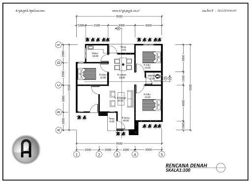 Denah Rumah Minimalis 3 Kamar Tidur Satu Lantai Jpg 512 371 Desain Rumah Modern Denah Rumah Rumah