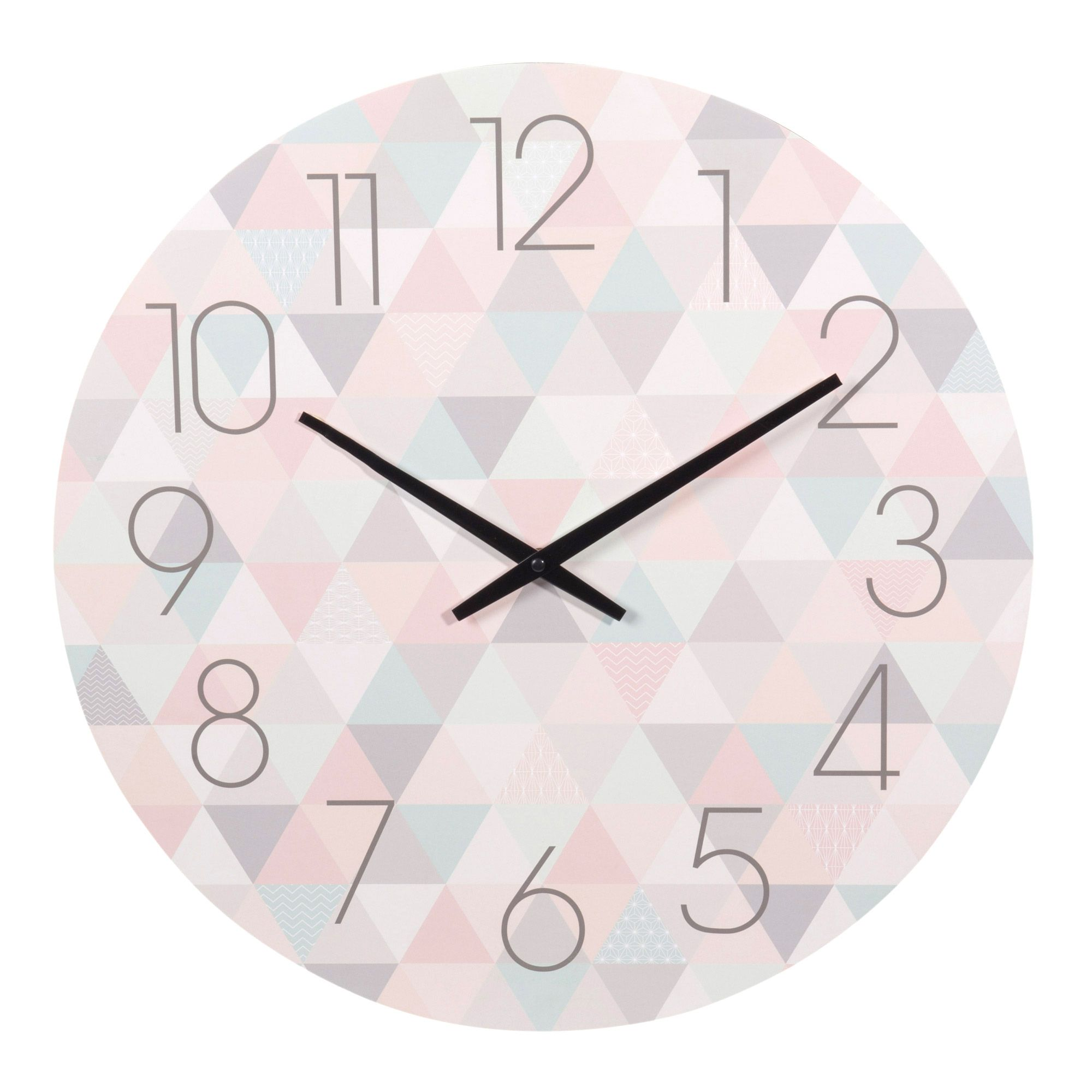 horloge en bois pastel d 50 cm zo maisons du monde triangle diamond hexagon triangle. Black Bedroom Furniture Sets. Home Design Ideas