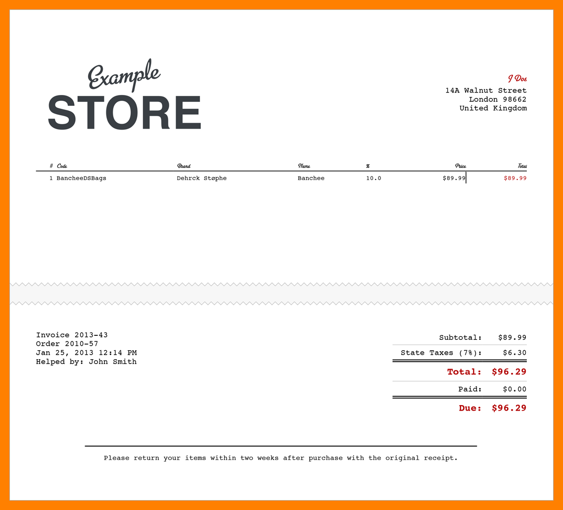 Sample Electronic Receipt Template Invoice Template Word Receipt Template Invoice Template