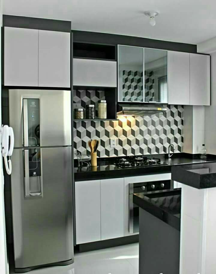 Cozinha Pequena Revestimento Geométrico Cinza Clean Moderna