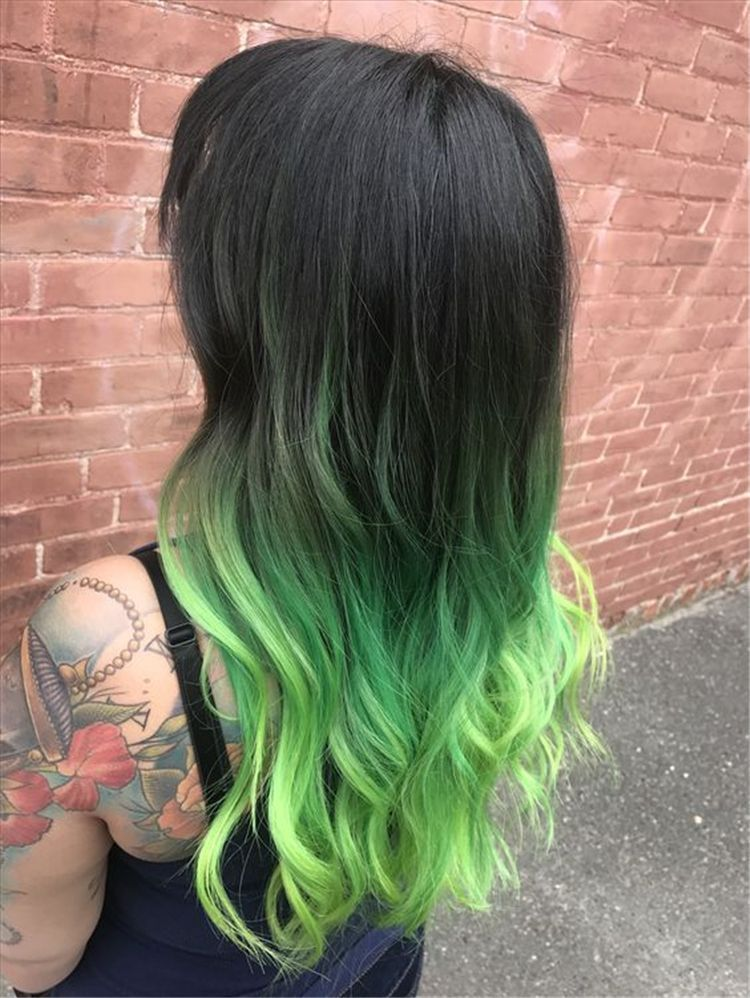 Neon Green Dream Colored Hair Tips Vivid Hair Color Green Hair Colors