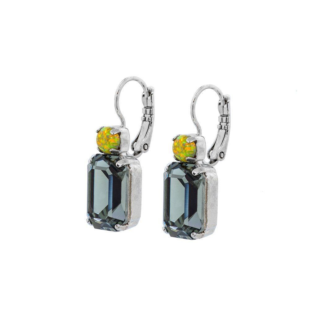 """Photo of Round and Emerald Cut Leverback Earrings in """"Painted Lady"""" – Rhodium"""