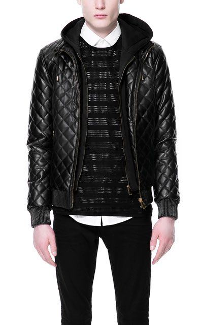 QUILTED JACKET WITH HOOD - Jackets - Man | ZARA United States ... : zara leather quilted jacket - Adamdwight.com