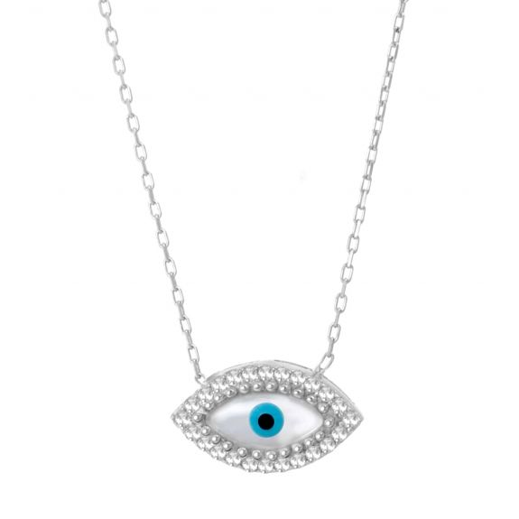 Mother of Pearl Evil Eye Necklace - Unique Evil Eye Jewelry and Charm Designs by Evil Eye Store  ®