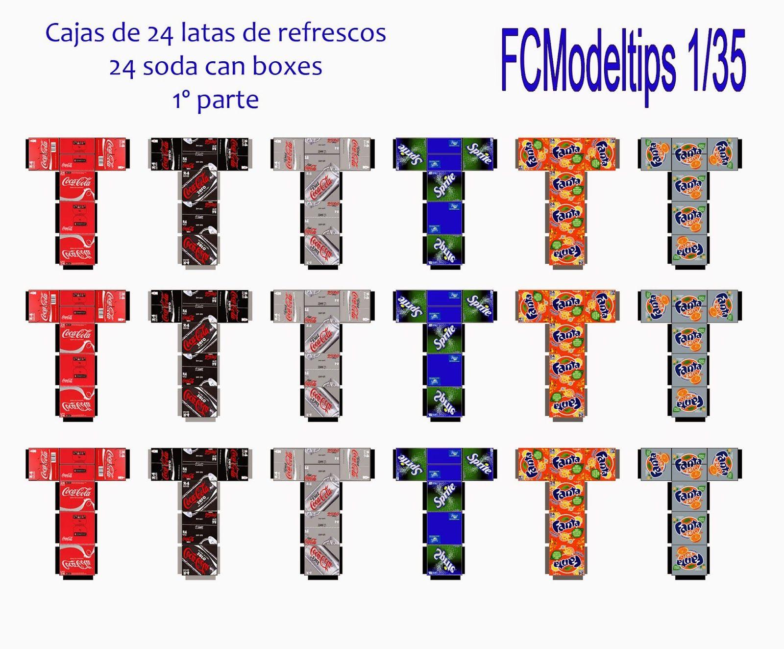 FCModeltips . Federico Collada: Cajas de 24 botes de refrescos 1 / 24 soda can boxes 1