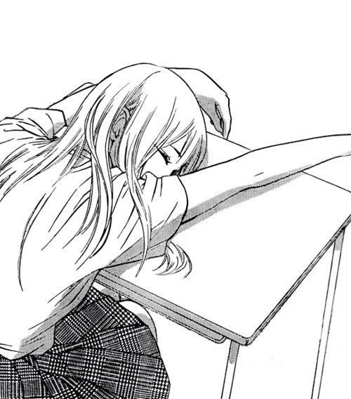Anime Characters Sleeping : B w manga female character sleeping slumped over school