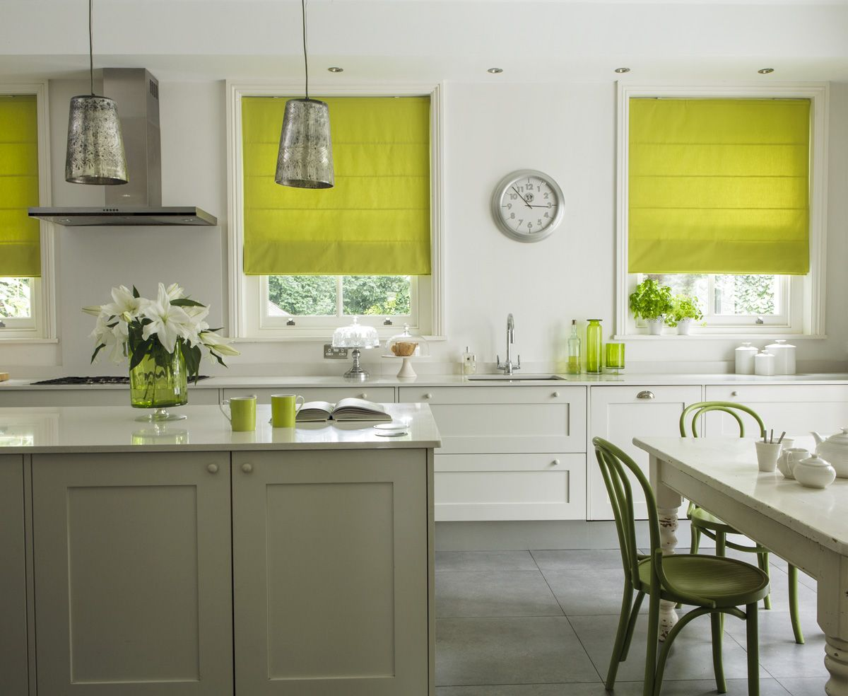 lime green patterned roman shades ideas photograph - Kitchen Blind Ideas