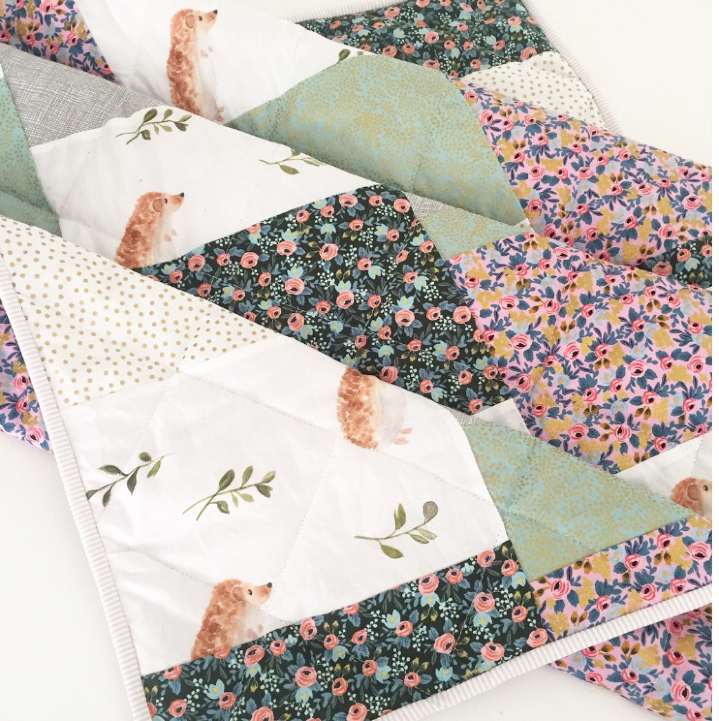 Hedgehog +Happy Days- Modern Baby Quilt-Baby Quilt for Sale-Floral ... : etsy baby quilts for sale - Adamdwight.com