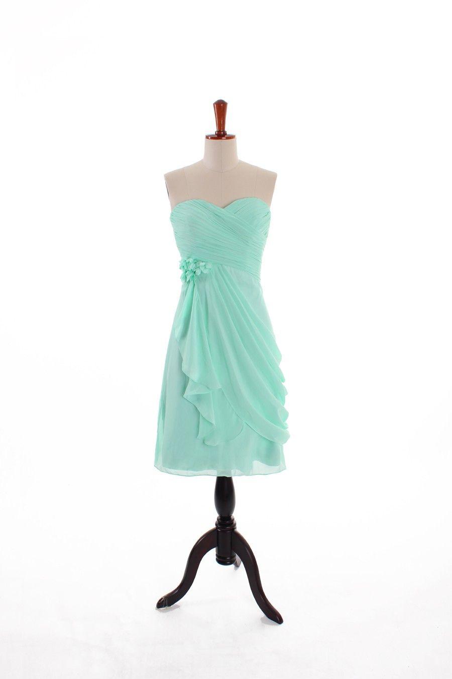 Sweetheart chiffon bridesmaid dress with natural waist