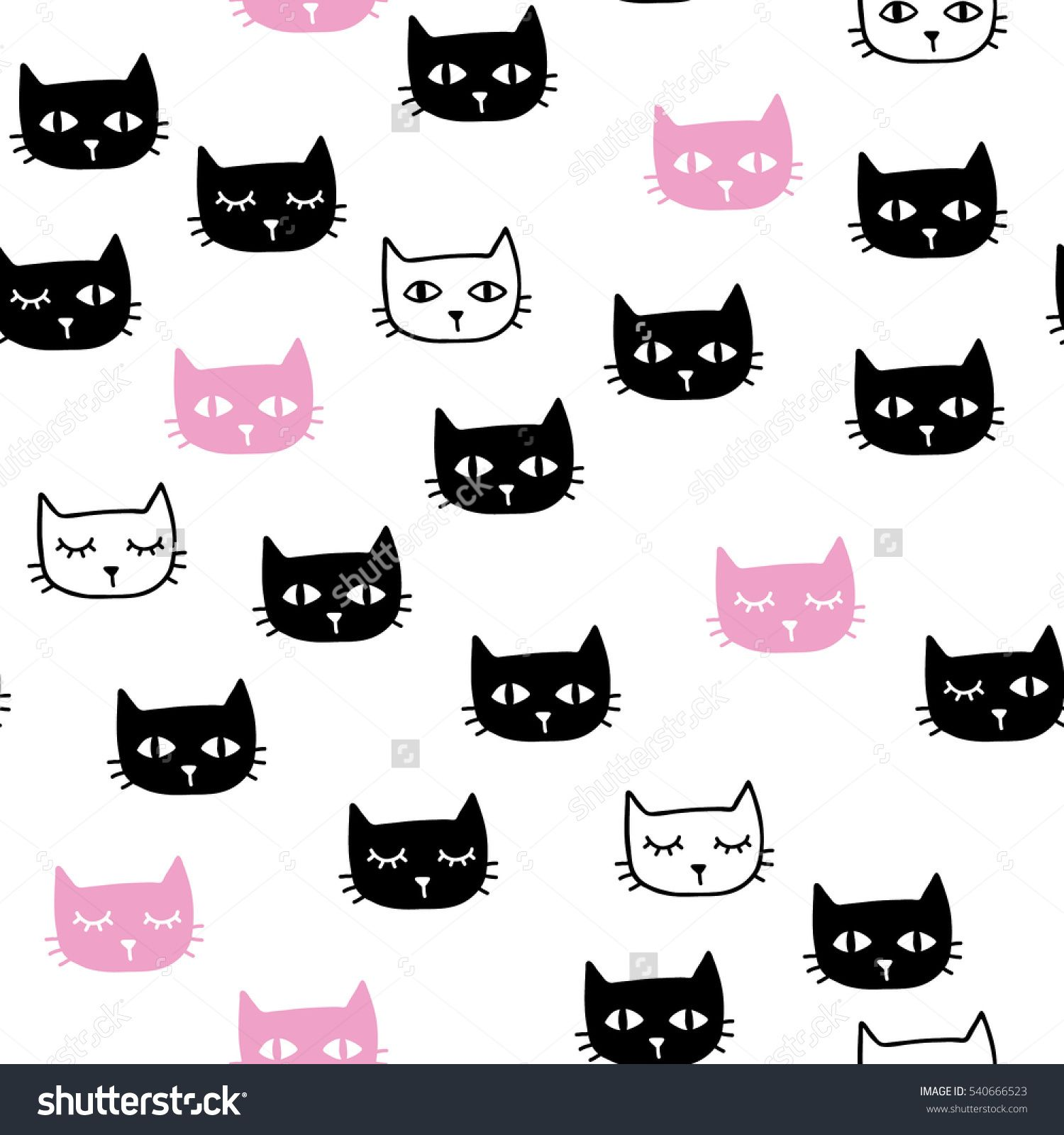 Cute handdrawn seamless pattern with cats lingerie adulto