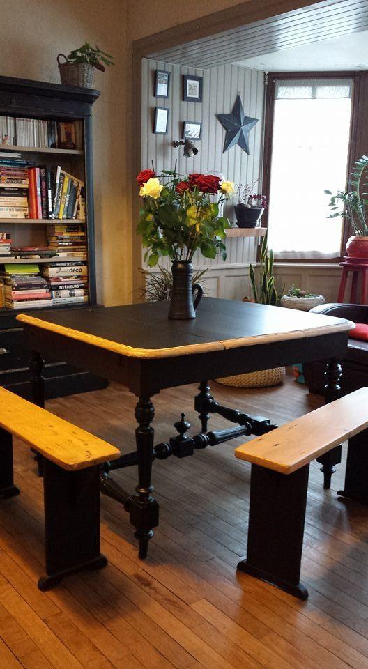 ancienne machine à coudre habillé d\u0027un plateau de bois ancien Table - meuble en bois repeint