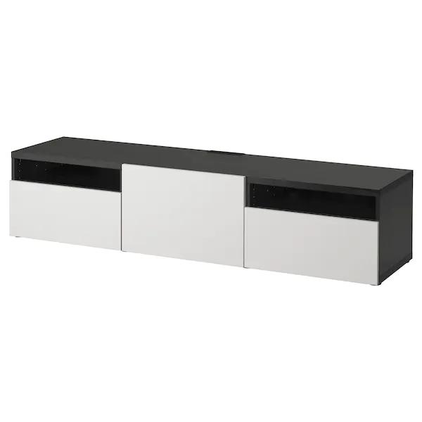 Besta Tv Unit Black Brown Lappviken Light Gray Ikea Tv Bench Tv Unit Tv Accessories