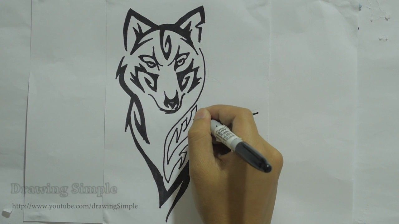 Lineart Wolf Tattoo : How to draw wolf tribal tattoo design #8 a